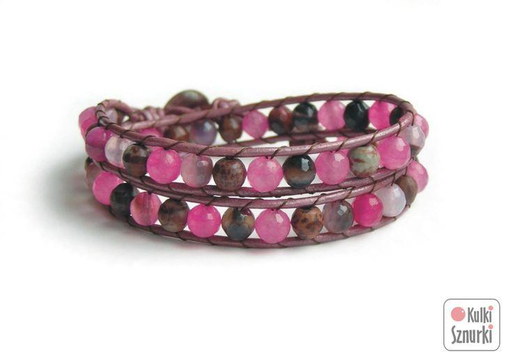 www.facebook.com/... Kulki Sznurki-biżutera personalizowana. Handmade jewellery. Wrap bracelets on leather #bracelet #bransoletka #pink #walentynki #valentinesday #prezenty