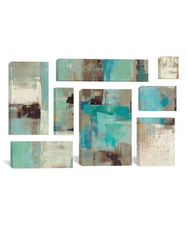 Look what I found on #zulily! Silvia Vassileva Teal and Aqua Reflections #2 Wrapped Canvas Set #zulilyfinds
