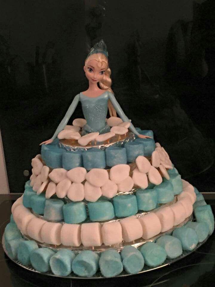 Gâteau de bonbon Elsa la reine des neiges! Structure faite main avec du polystyrène extrudé recouvert d aluminium !