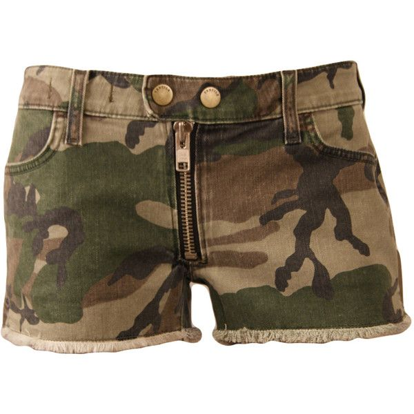 Army Multitone Camouflage Cooper Shorts ($187) ❤ liked on Polyvore featuring shorts, pants, bottoms, camouflage shorts, camoflauge shorts, cotton shorts, army camo shorts and army shorts
