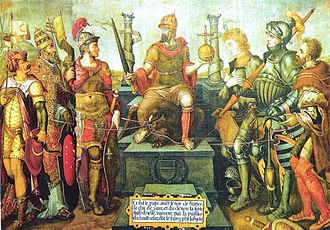 Allegory showing Charles V (centre) enthroned over his defeated enemies (from left to right): Suleiman the Magnificent, Pope Clement VII, Francis I, the Duke of Cleves, the Duke of Saxony and the Landgrave of Hesse