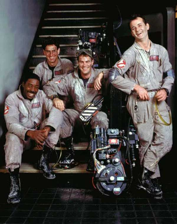 Ernie Hudson, Harold Ramis, Dan Aykroyd and Bill Murray on the set of Ghostbusters