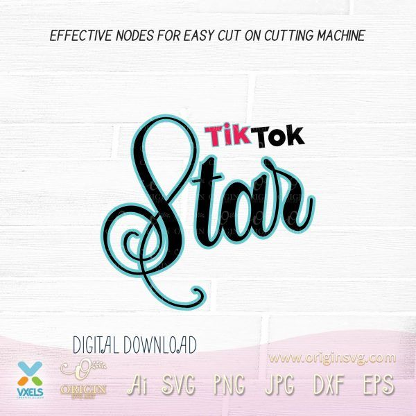 Tiktok Star Bundle Svg Tik Tok Musical Logotype Theme Wall Decor Printables Card Design Font Art