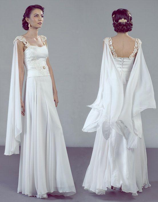 Aurora wedding dress fairy-like design, detachable chiffon wings with lots of…