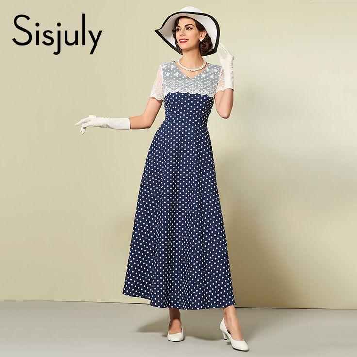Sisjuly женщины одеваются горошек осень зима кружева лоскутная партия платье де феста синий мода стиль линии женщины платья купить на AliExpress