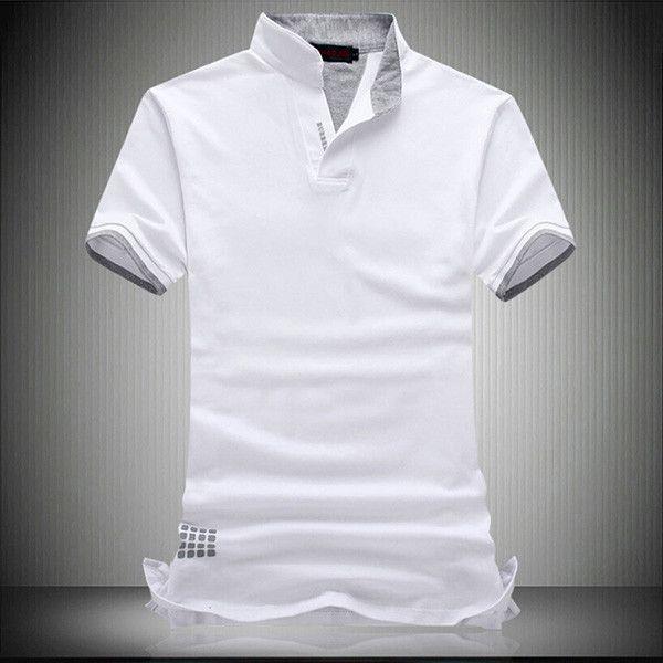 New Fashion Brand Men Polo Shirt Solid V-Neck Short-Sleeve Slim Fit Shirt Men Cotton Polo Shirts Casual Shirts Plus Size 6XL 7XL