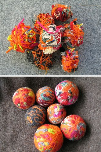 Felt wool balls- I wonder if we can take apart old wool sweaters for the yarn to make them?