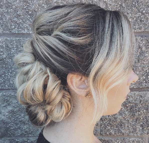 Curly textured chignon by Heather Chapman