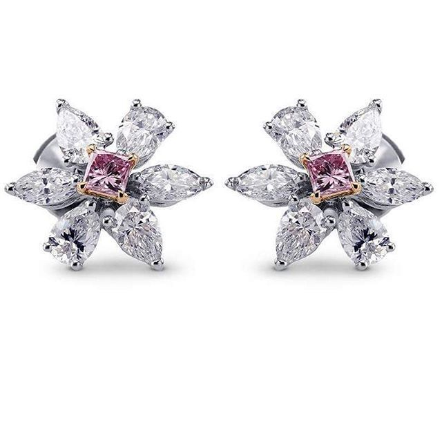 Leibish A magnificent pair of pink diamond earrings.