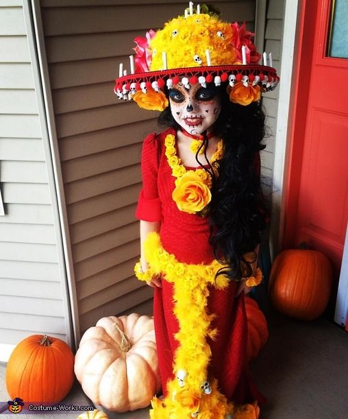 Mande: My daughter Ava decided she wanted to be her favorite character from the movie The Book of Life, Le Muerte. And I was all for that because that meant one...