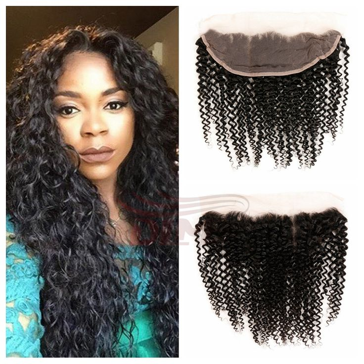 "Unprocessed Hand Tied 13""x4"" Malaysian Virgin Hair Lace Frontal Kinky Curly 8A Swiss Lace Frontal Human Hair Extensions"