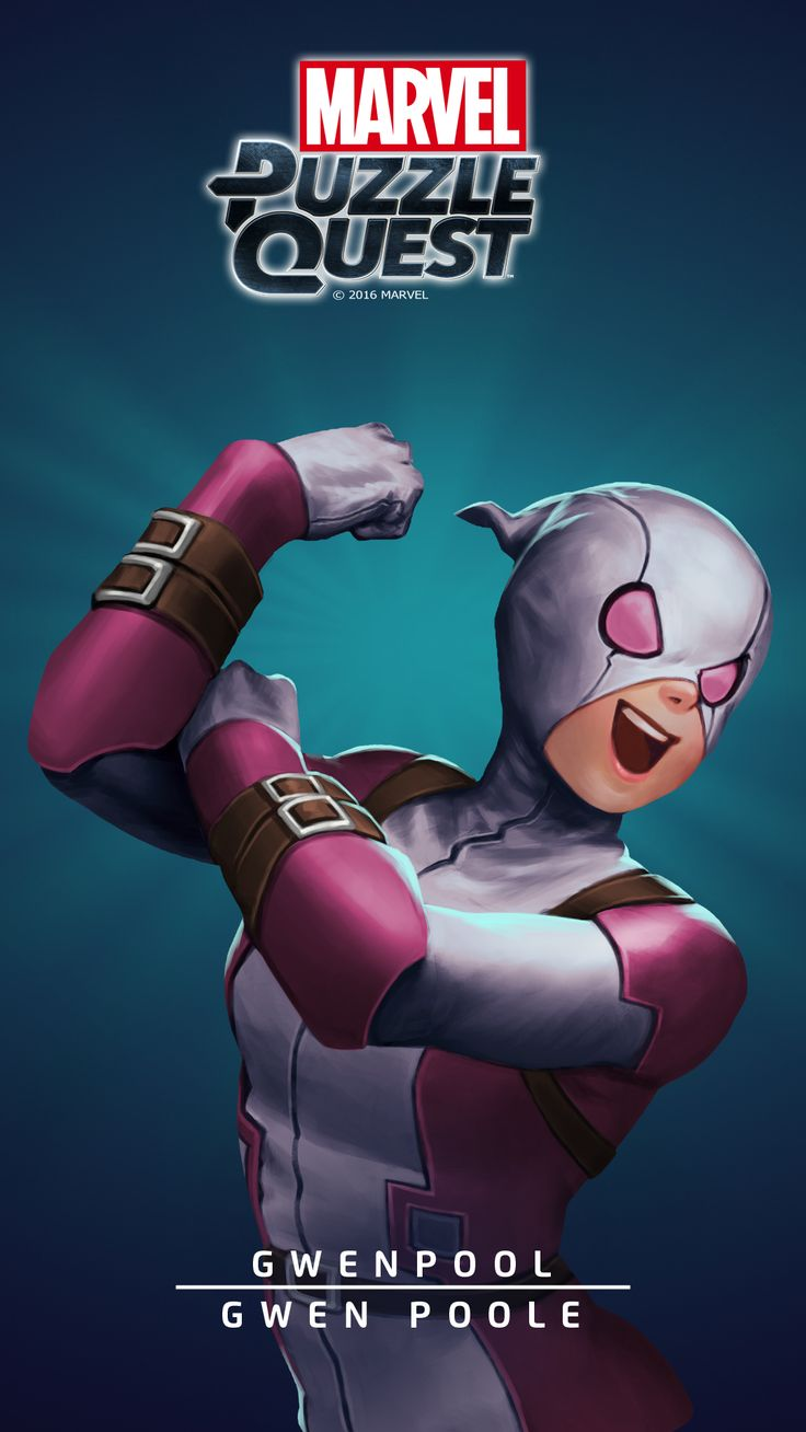 """Gwendolyn """"Gwen"""" Poole appears in Marvel Comics books, originating as an amalgam of Gwen Stacy and Deadpool (no relation to either) from a variant cover of """"Deadpool's Secret Secret Wars #2"""".,[Gwenpool_Wallpaper_2.png (1080×1920]"""