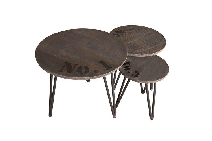 Loft Circle Side Tables - Χειροποίητα βοηθητικά τραπέζια από μασίφ ξύλο μάνγκο και μέταλλο  Διατίθενται ξεχωριστά Σε τρία μεγέθη: Μεγάλο,Mεσαίο και Μικρό.