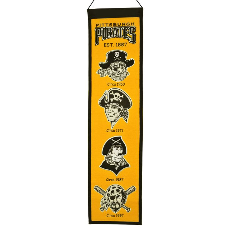 "This beautifully embroidered 8"" x 32"" wool banner tracks the evolution of the Pittsburgh Pirates team mascot/logo over the years. This banner is constructed with applique and embroidery and includes a hanging rod and cord."