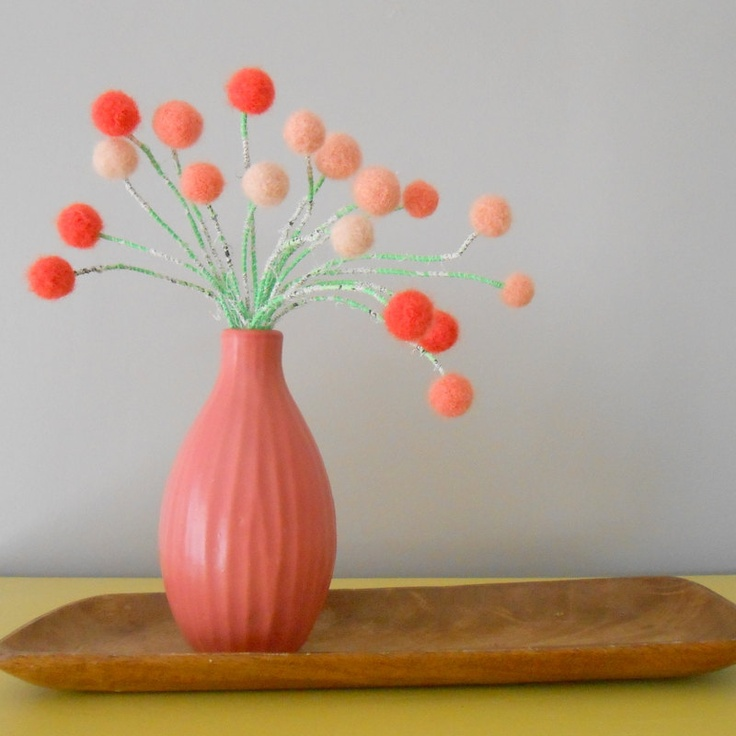 Peach Coral pom pom flowers.Peaches and Cream home decor. Salmon wool felt.Girls room.Peach and green.Small blooms.Shabby chic.. $72.00, via Etsy.