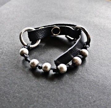 KSZU- Silver Beads & Leather