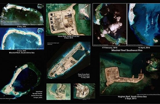 Satellite images of the Spratly region of the South China Sea: Mischief Reef, Subi Reef, Fiery Cross Reef, Hughes Reef, Cuarteron Reef, Johnson South Reef, Gaven Reef; from Victor Robert Lee, interviewed in The Diplomat.