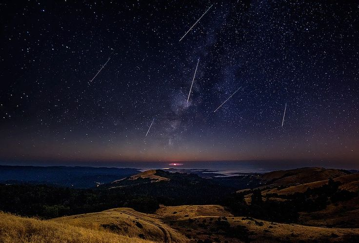 sky, night, The Quadrantids meteor shower, meteors, nature, moutains, water