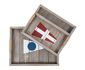 Set di 2 vassoi in legno Bandiere - max 44x35 cm