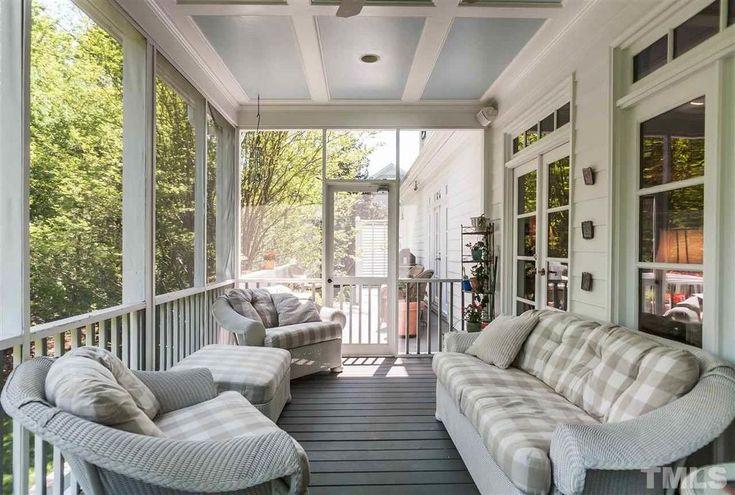 Craftsman Porch with Wicker Furniture Warehouse Laguna Beach Sofa In White, Outdoor kitchen, Screened porch