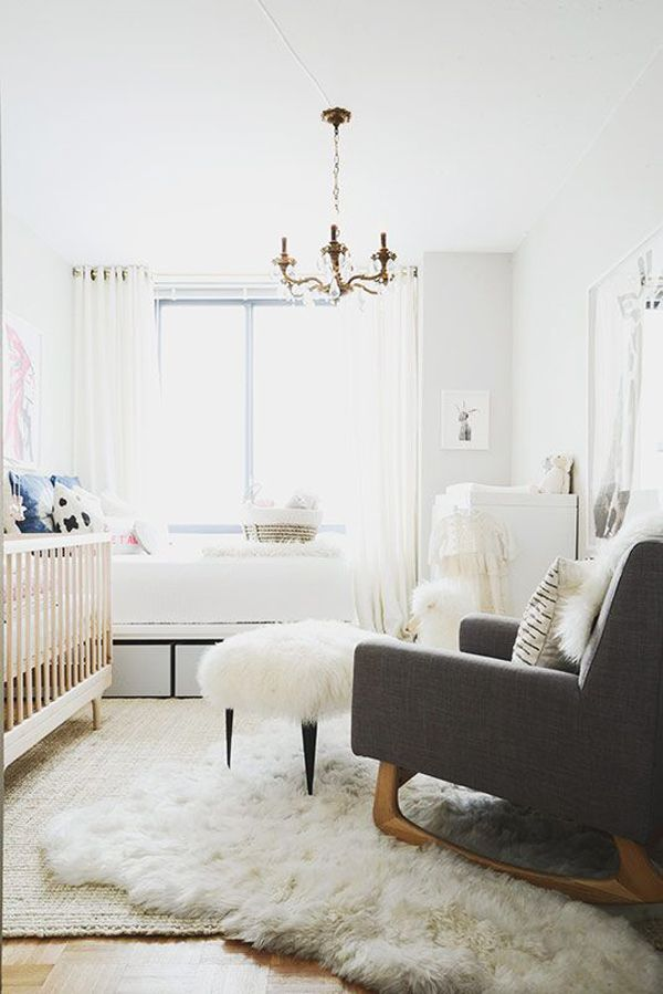 How An Area Rug Can Change Your Home In A Big Way #refinery29  http://www.refinery29.com/homepolish/71#slide-9  Here's another great example of the layered-rug look. In a nursery, sheepskin on the floor creates a lush, airy feeling....