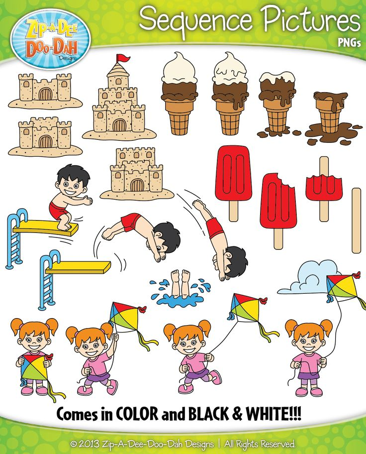 Summer Themed Sequence Action Pictures Clipart Set