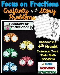 This engaging activity puts a fun spin on reviewing fractions! It also makes a creative bulletin board or school hallway display! Students begin by completing two worksheets: 1. Fraction Story Problems (with addition, subtraction, and multiplication) 2. Decomposing Fractions and Converting Improper Fractions to Mixed Numbers Then they use their completed worksheets to assemble their craftivity!