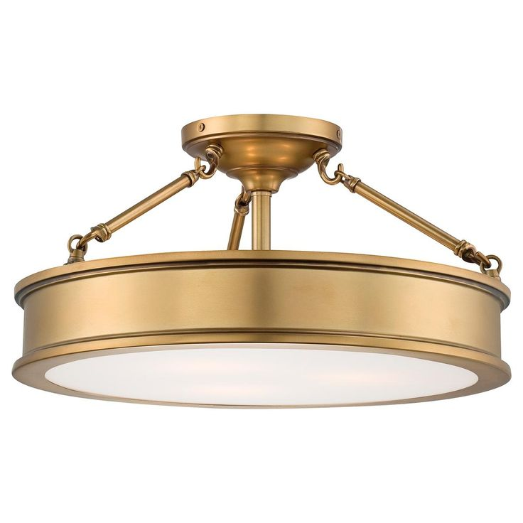 "Traditional Urban Semi Flush Ceiling Light/A handsome semi flush adds a sophisticated style to a home office or living room. The etched white glass diffuser fits perfectly in the antique brass frame for a flawless refined look. Bedroom, great room or kitchen, this traditional urban semi flush ceiling light makes a striking addition. 3-100 watt medium base lamp required. (9.75""Hx19""W)SKU: FM13035 AB Price:  $299.00"