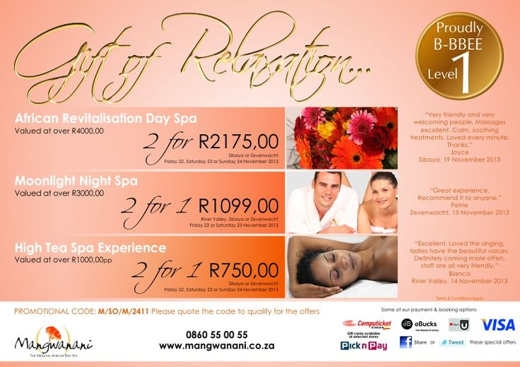 The Gift of Relaxation - This weekend's specials from Mangwanani African Day Spa
