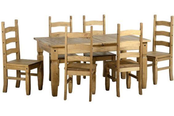 Tesco direct: Corona Extending Dining Set (1+8) Distressed Waxed Pine
