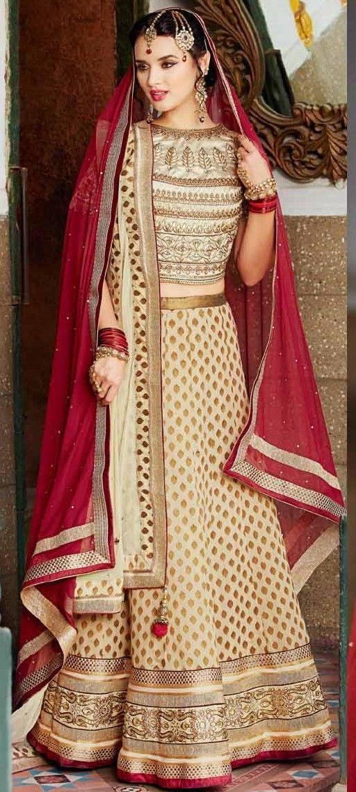 Lychee Fashions Ethnic Cream & Maroon Banarasi Jacquard / Net 3 PC Lehenga Choli with Dupatta-1122-25734 - Ethnic Lehenga Choli
