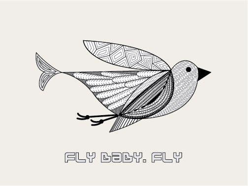 FLY BABY, FLY - Black/white