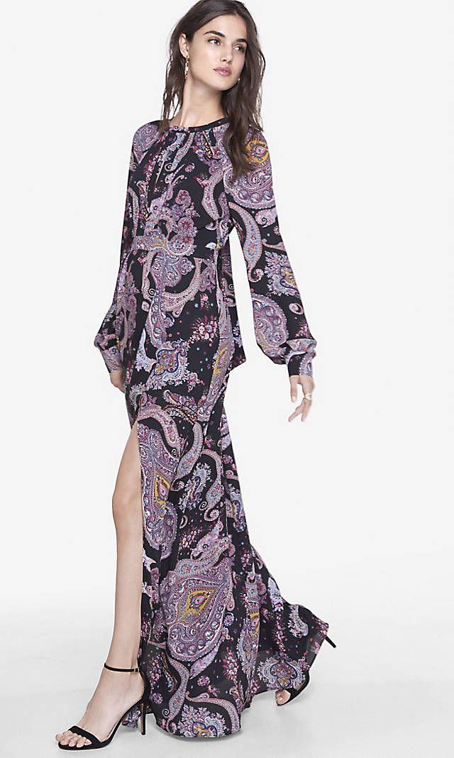 Paisley Poet Sleeve Maxi Dress | Express