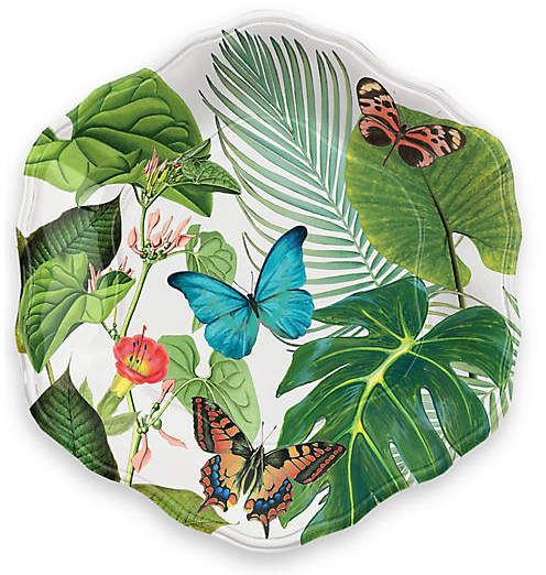 Add a tropical flare with One Kings Lane Set of 12 Amazon Floral Melamine Dinner Plates - Green