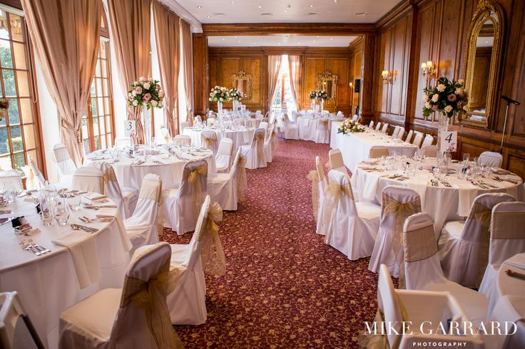 Wedding breakfast decoration in the Ballroom at Hedsor House.
