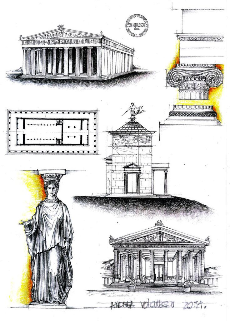 Cladiri importante din grecia antica. Parthenon - Athens (building + plan) Ionic capitel Tower of the winds - Athens Caryatid Temple of goddess Artemis (Diana) - Efes