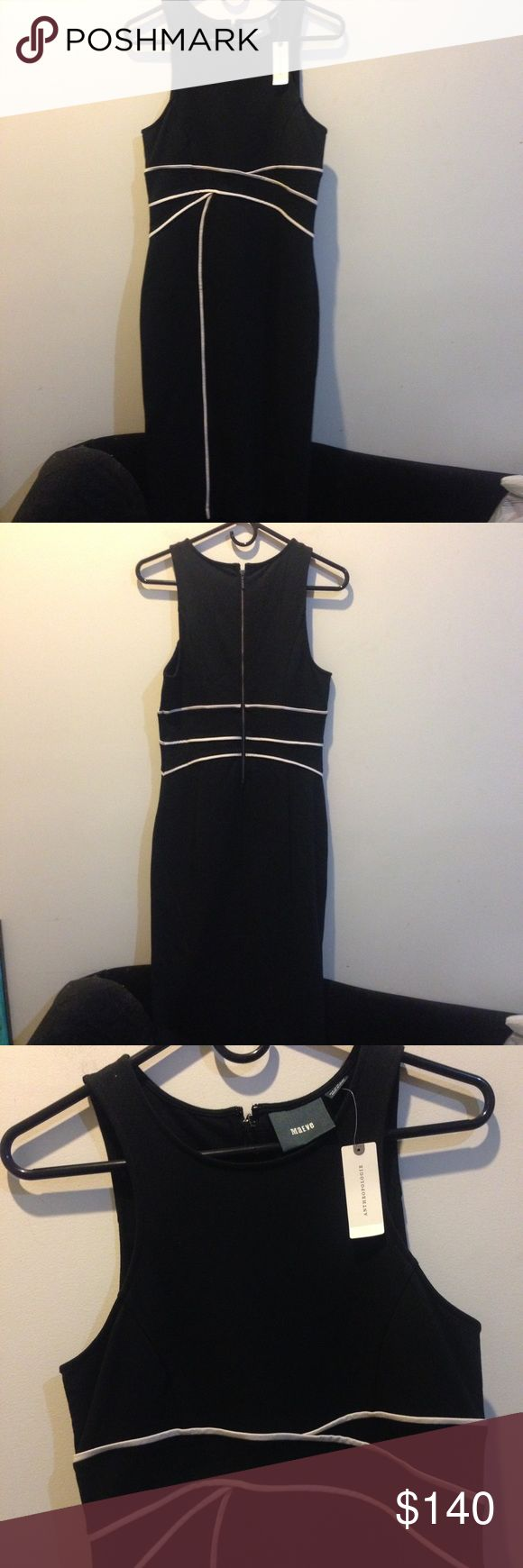 NWT Maeve Anthropologie Black Contour Dress MAEVE Anthropologie black and white Bodycon dress new with tags!! Absolutely stunning dress with tags attached- size 8 and is   Ideal for weddings, the office or any special occasion. It's not lined and has some stretch to it also! Anthropologie Dresses Midi