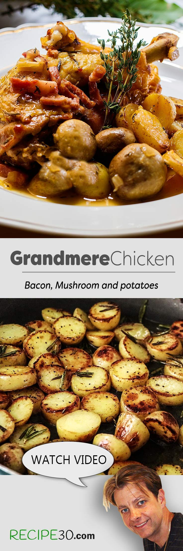 Poulet Cocotte Grand Mere Chicken with Bacon and Mushrooms in White Wine  I recently travelled to France and therefore thought I would share this simple yet tasty family chicken recipe. The name means chicken grand mother in a pot. It's made with simple fresh ingredients and the result is amazing. Watch video for recipe and see some of the streets of Paris where I bought my ingredients.