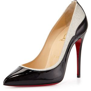 christian louboutin tucskick giittered red sole pump white/gold