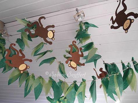 Die Deko muss passen, wenn Du eine authentische Dschungelparty für Deinen Kindergeburtstag planst. Wie wäre es hiermit?  Diese Idee finden wir besonders süß. Danke dafür Dein balloonas.com  #kindergeburtstag #balloonas #party # safari # dschungel #tiere #deko