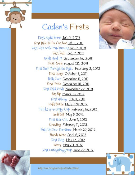 Scrapbook Baby's Firsts Page, Memory Book, or Baby Book Page. Customized w baby's info. Multiple designs available for both.
