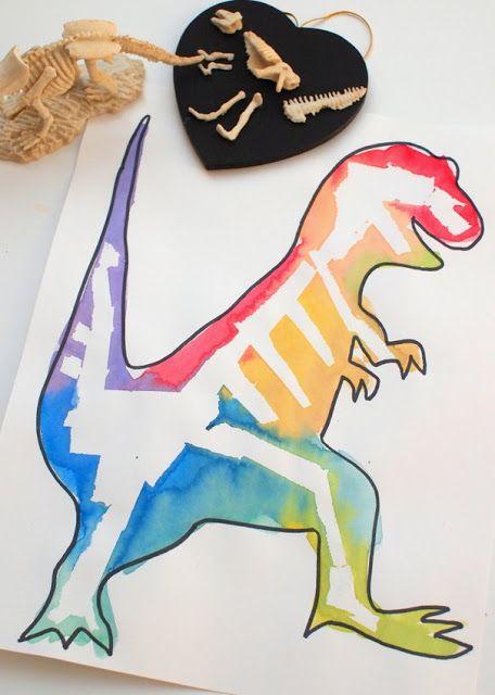 great kids art and STEM project- masking tape resist dinosaur bone paintings