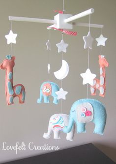 In love with this!!!! Baby mobile - Baby crib Mobile - Elephant Mobile - Nursery Mobile - Baby boy Mobile - You can PICK ur COLORS and FABRIC :)