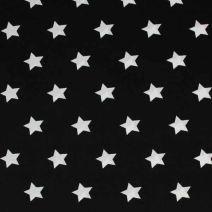 Černá bavlněná látka s motivem bílých hvězd. Látka je vhodná na patchwork, quilting, ložní prádlo, ale i na šaty, kalhoty.