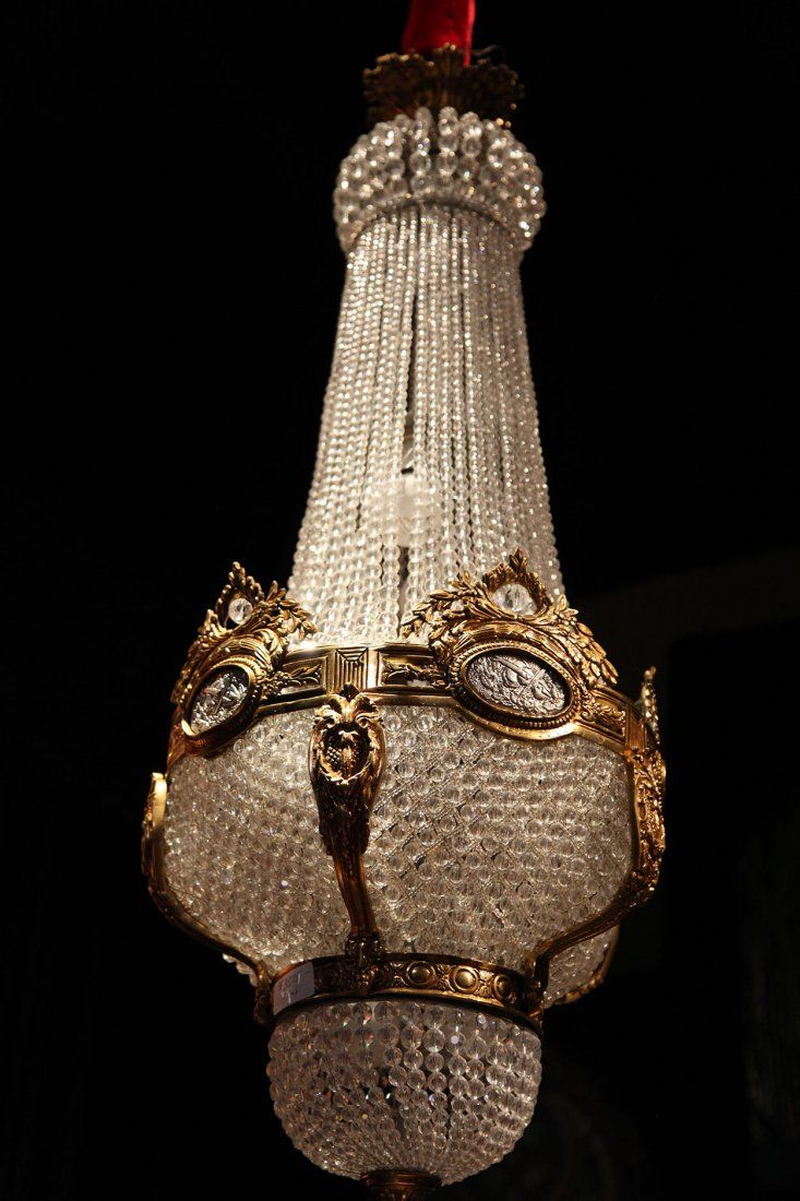 19th Century French Empire Bronze and Baccarat Crystal Chandiler