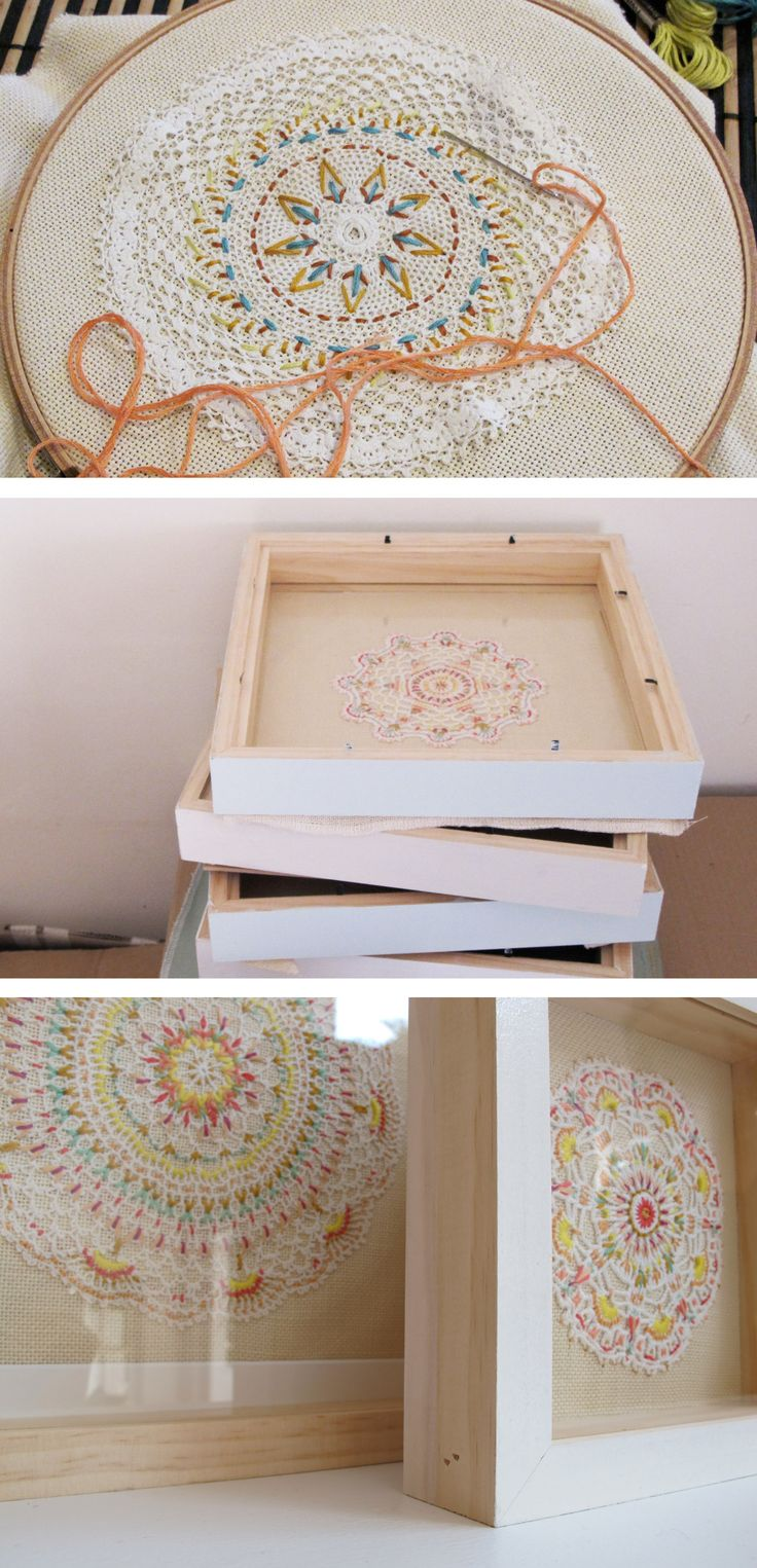 Ernest Hope - Framed Embroideries - embroider on vintage doilies - good idea