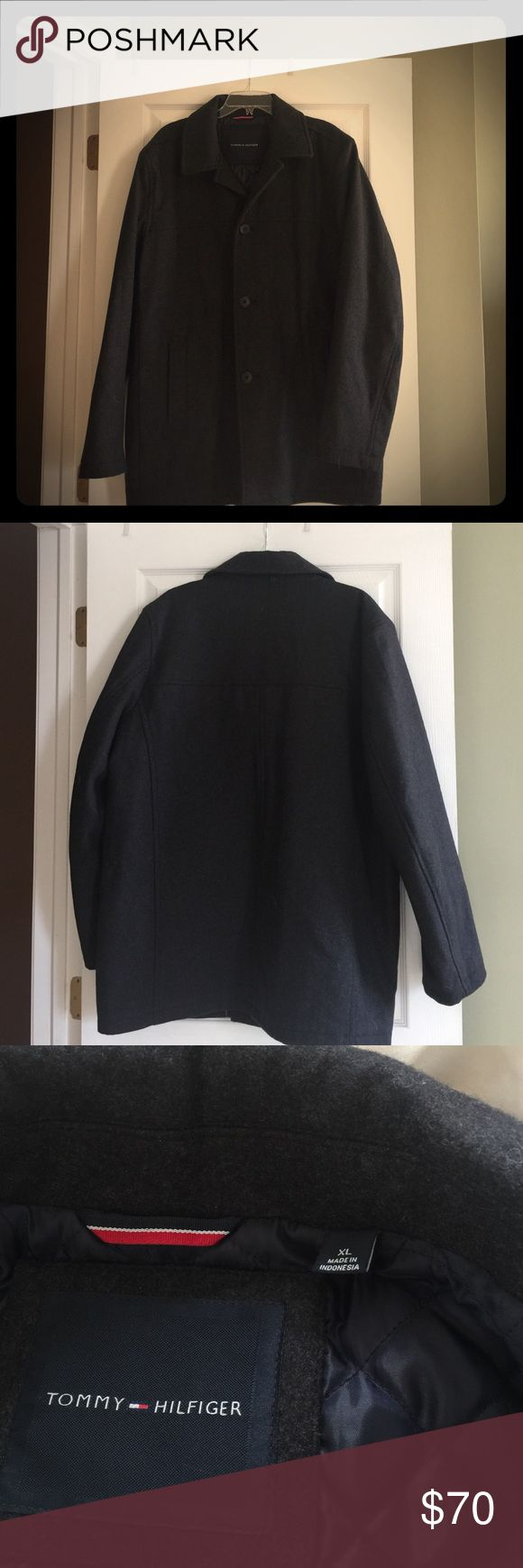 "Tommy Hilfiger Men's dress coat Dark gray Dress/Pea coat nice heavy weight coat with quilted interior. Hardly worn. 32"" long from shoulder. Tommy Hilfiger Jackets & Coats Pea Coats"