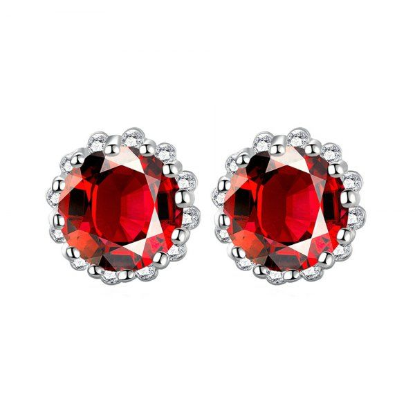 Pair of Vintage Red Rhinestone Carved Edge Earrings For Women #shoes, #jewelry, #women, #men, #hats, #watches, #belts