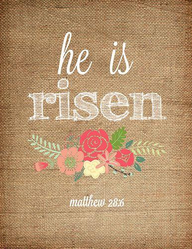 He is risen. Easter printable