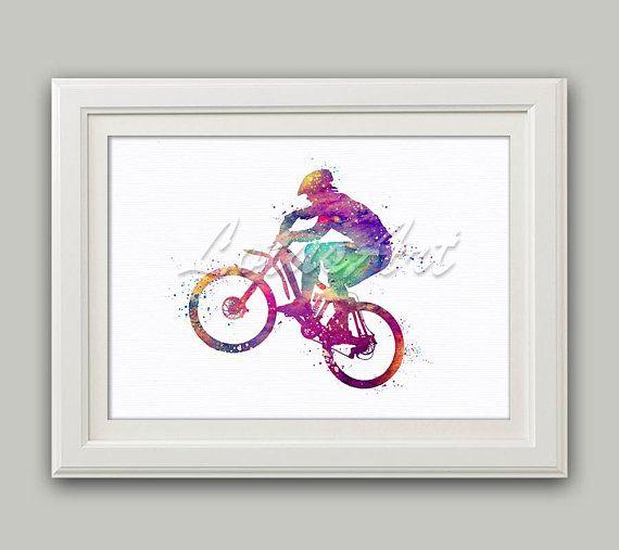 Biker Art Cycling Wall Art Bicycle Print Cycling Decor Cycling Gifts ...